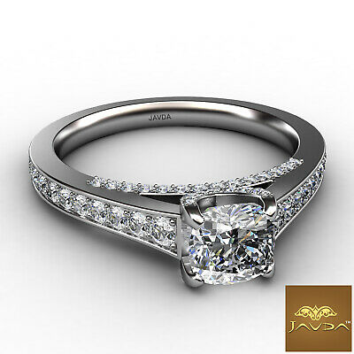 Cathedral Micro Pave Setting Cushion Diamond Engagement Ring GIA E VS1 1.47 Ct 1