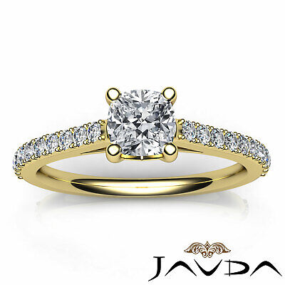Cushion Shape French V Pave Diamond Engagement Ring GIA Certified F VVS2 1.01Ct 10