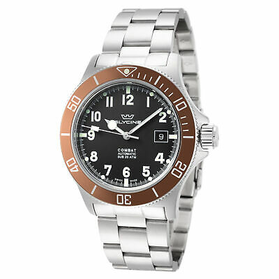 Glycine GL0171 Men's Combat Sub 42 Automatic 42mm Black Dial Brown Bezel Watch