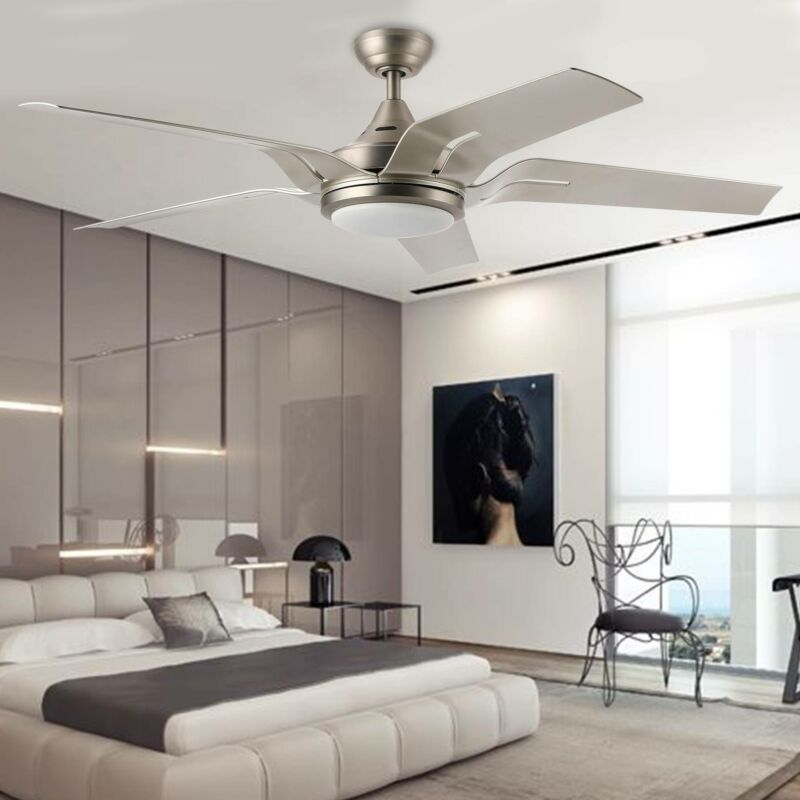 "56"" Modern Ceiling Fan 5 Blade Reversible Silver Steel LED"