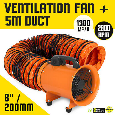 8 Inch Extractor Fan Blower Portable 5m Duct Hose Utility High Rotation Exhaust