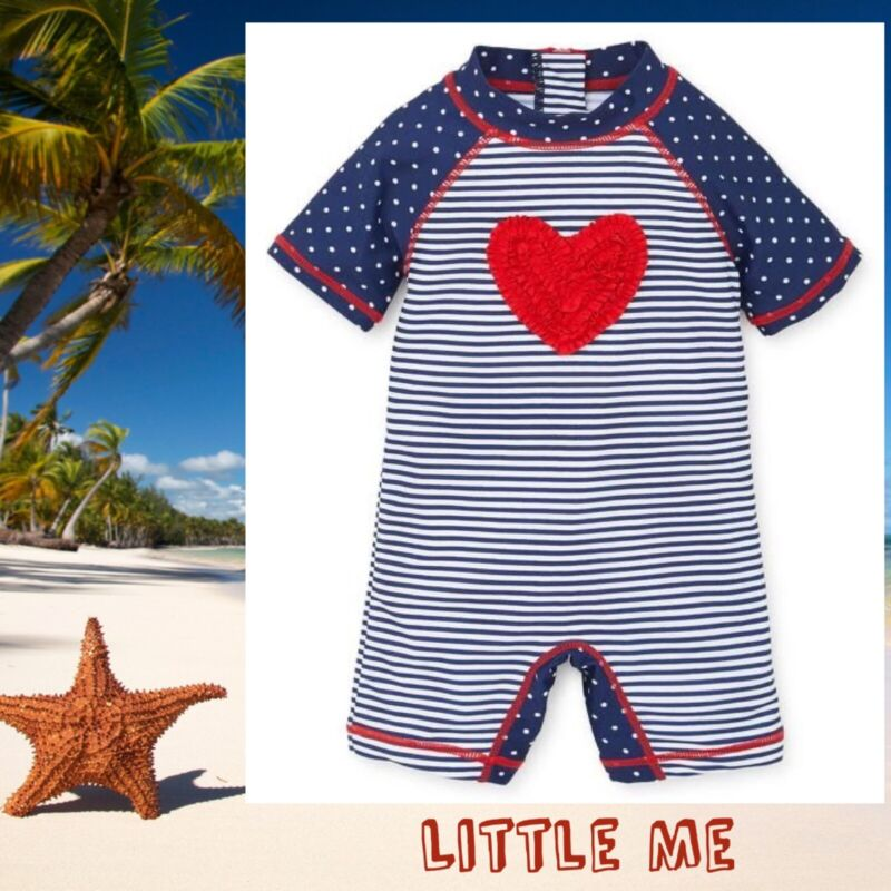 Little Me Baby Girl  One-Piece Navy/Red Rash Guard Size 6/9 Months