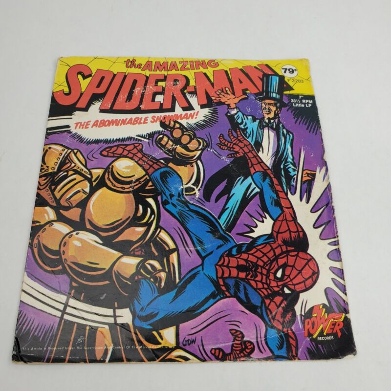 """The Amazing Spider-Man Abominable Snowman Power Records Little LP 7"""" 33 1/3 RPM"""