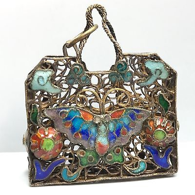 ANTIQUE CHINESE EXPORT SILVER ENAMEL FILIGREE PURSE PENDANT  N57