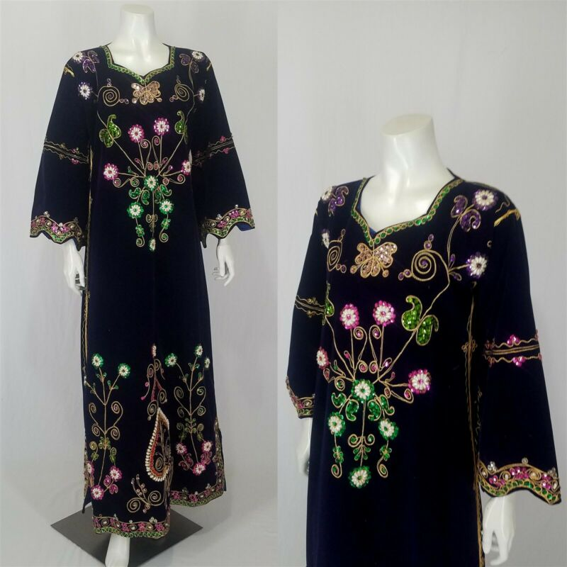 Boho Ethnic Velveteen Tunic Dress Sequins Beads O/S Jordanian Bedouin Wedding
