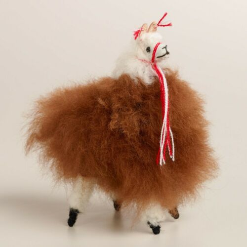 New! Llama Stuffed Soft Fluffy Alpaca fur handmade from Andes Peru brown