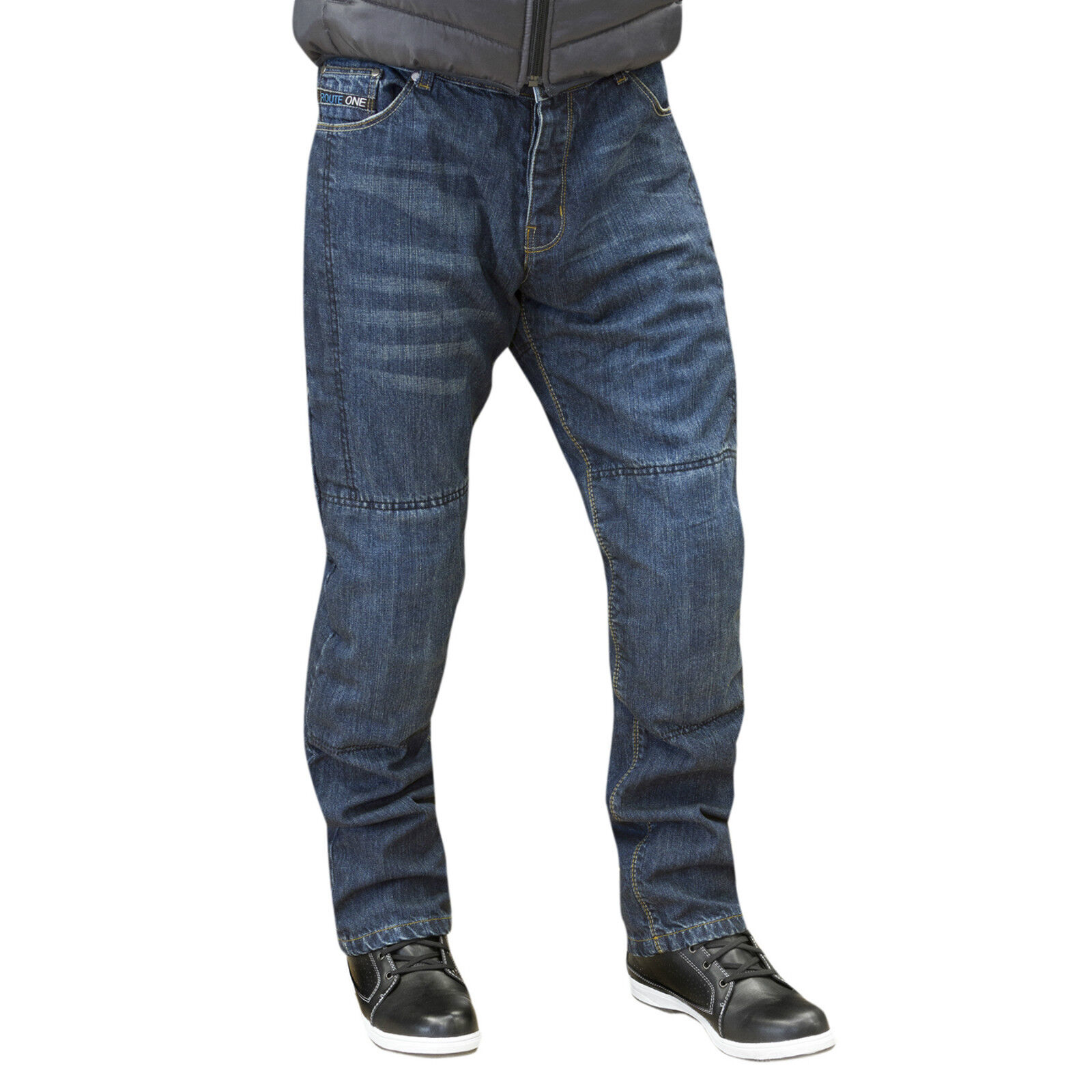 Route One Brooklyn Water Repellent Motorcycle Jeans motorbike armour protect