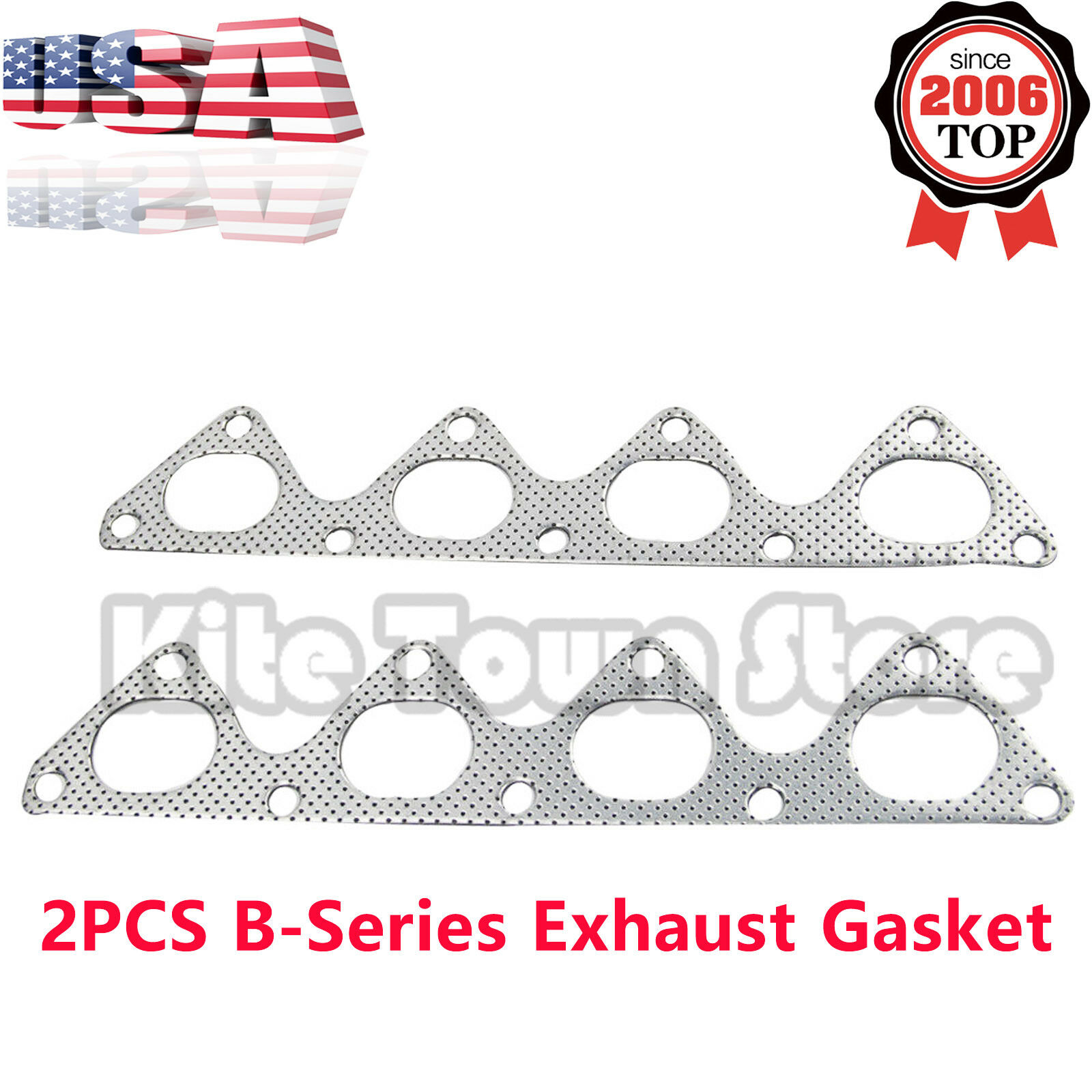 2PCS Exhaust Header Manifold Graphite Gasket For Honda B-Series B16A2 B16B B18C