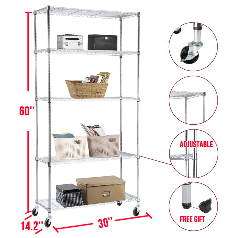 Adjustable 5 Tier Wire Shelving Rack Heavy Duty Chrome Steel Shelf w/Wheels