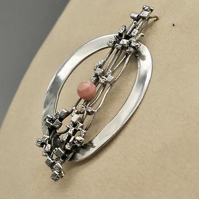 ❂ ►Schmuck- Design der 70er, Brosche auch Anhänger, Silber 835, Rhodochrosit