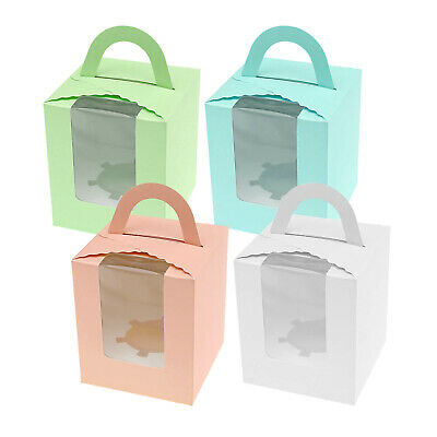 Clear Window Cupcake Box Single Cake Case Muffin Cube Holder Container 10/20X