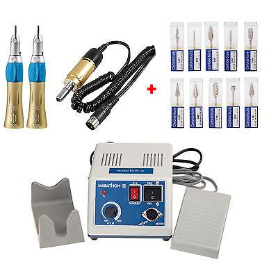 Laboratorio dental Micromotor Motor eléctrico w/ 2 Straight Nose Cone + Burs segunda mano  Embacar hacia Argentina