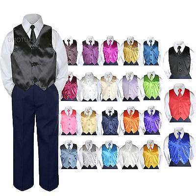 Color Choice 4pc Vest Necktie Boys Suit Navy Set Baby Tod...
