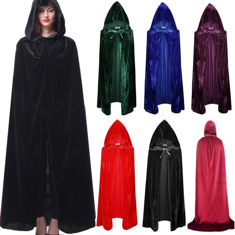 Kapuze Samt Umhang Robe Cape Mantel mittelalterlichen Hexerei Halloween Kostüm A