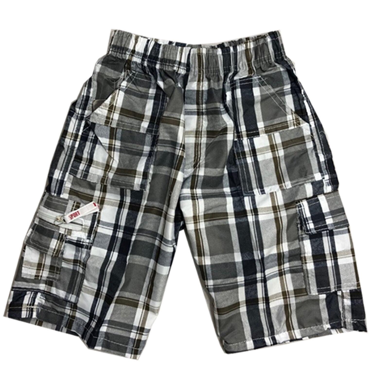 Boys Kids Shorts Check Combat Cargo Pocket Summer Fashion