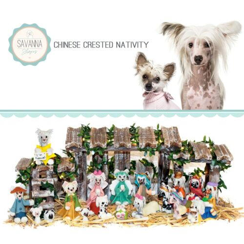SAVANNASHOPS Dog Nativity Chinese Crested Gifts - Nativity Sets - Dog Love Gifts