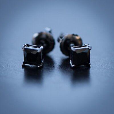 Small Black Onyx Diamond Stud Screw On Post Earrings ()