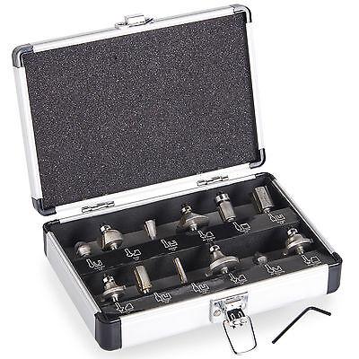"""VonHaus 12pc Router Bits Set Tungsten Carbide 6.5mm 1/4"""" Shank Universal Fit Saw"""