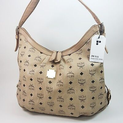 Auth MCM Visetos Hobo Shoulder Bag Beige E5254 Tote Bag Genuine Guaranteed MA413