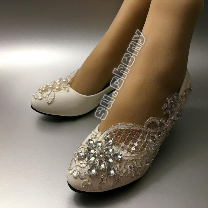 su.cheny 7 10 cm heel White light ivory lace pumps Wedding Bridal shoes