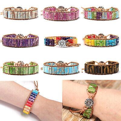Drop Flower Tube (Womens Boho Natural Stone Round Tube Bead Leather Bracelet Flower Handmade Woven )