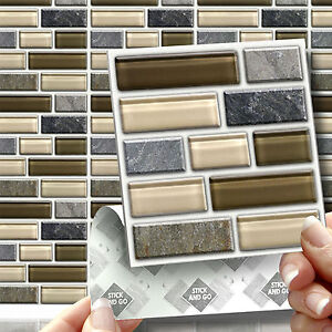 18 Peel Stick Go Stone Glass Tablet Wall Tiles Stickers Kitchen Bathroom