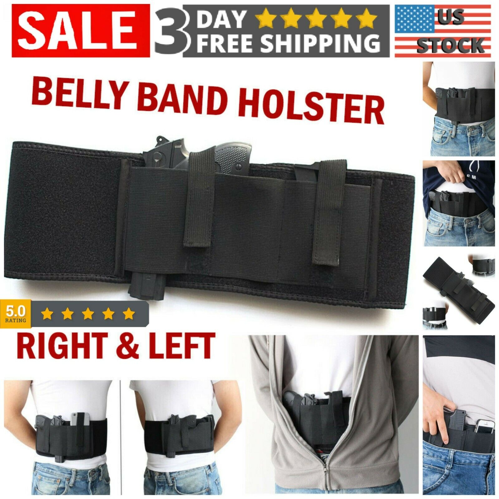 Belly Band Holster for Concealed Carry - Right or Left Hand