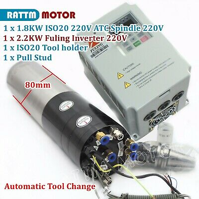 1.8kw Iso20 220v Atc Water Cooled Spindle Motor Automatic Tool Change2.2kw Vfd