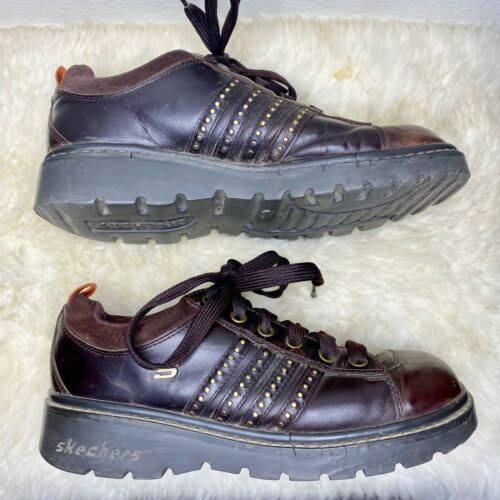 Vintage Sketchers Leather Chunky Lace Up 90s Shoes - Women