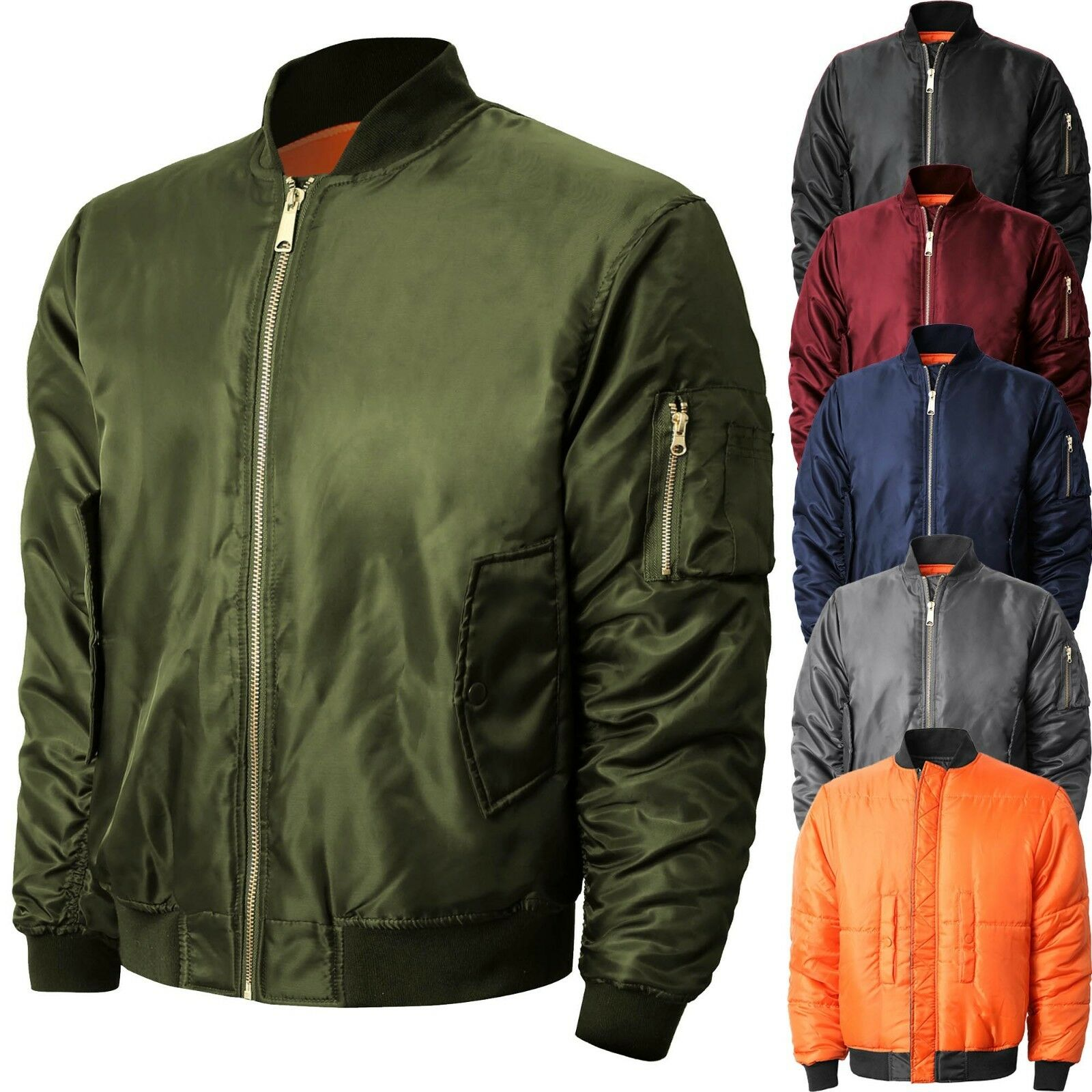 Mens Bomber Jacket Winter Flight Military Air Force MA-1 Tac