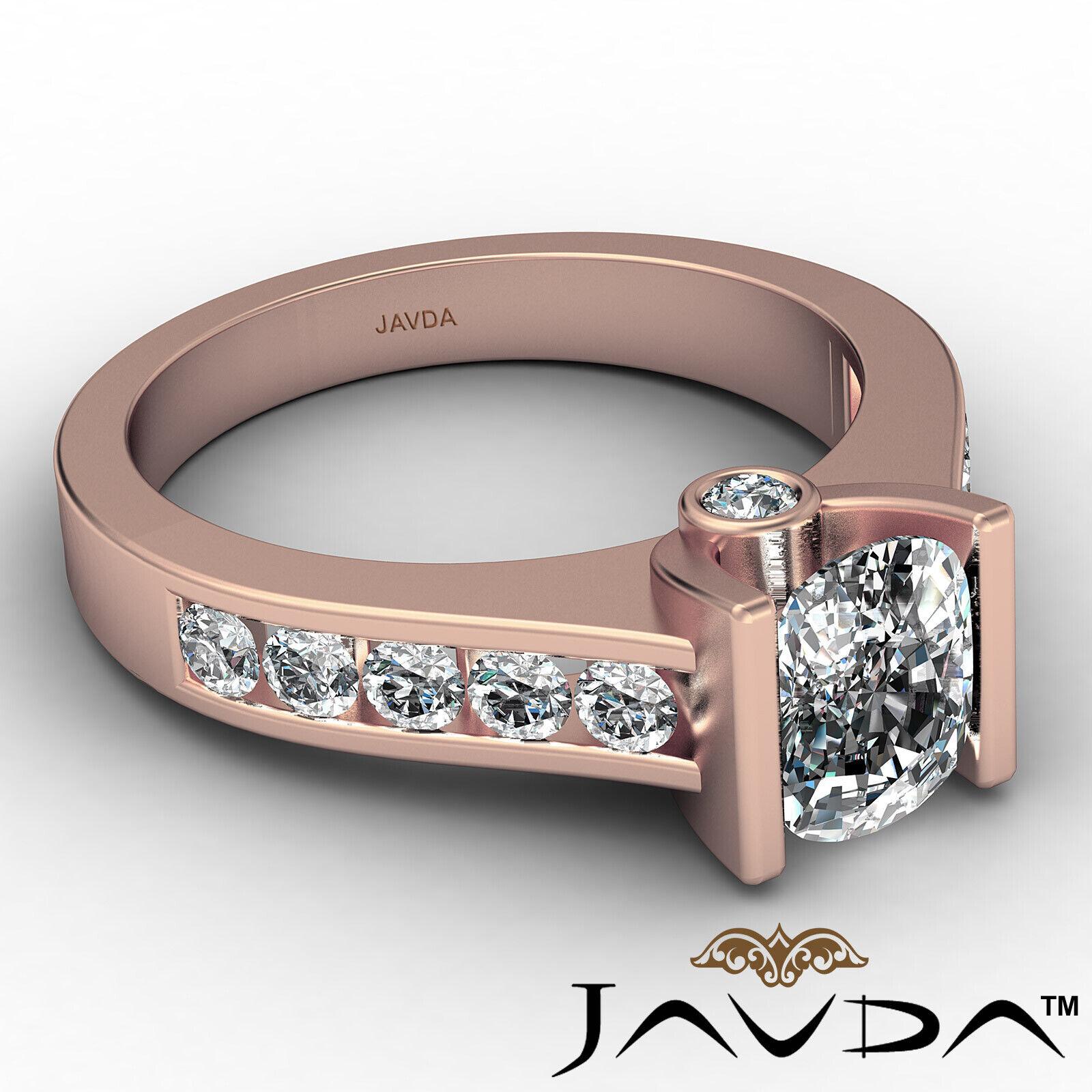 Bezel Cushion Diamond Engagement Women's Ring GIA, J Color SI1 clarity 1.53 ctw. 8