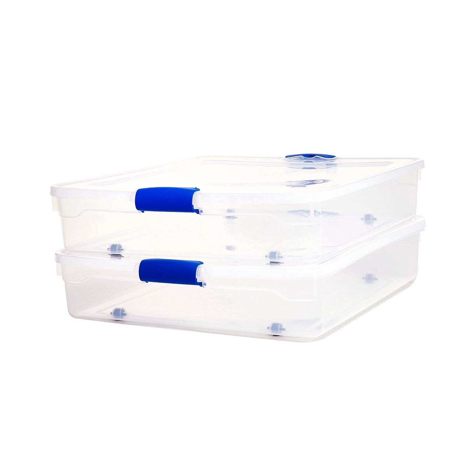 Homz 56-Qt Full/Queen Under Bed Clear Storage Boxes, Set of