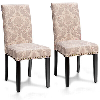 Costway Set of 2 Fabric Dining Chairs Upholstered Nailhead Trim Seat  Wood Legs