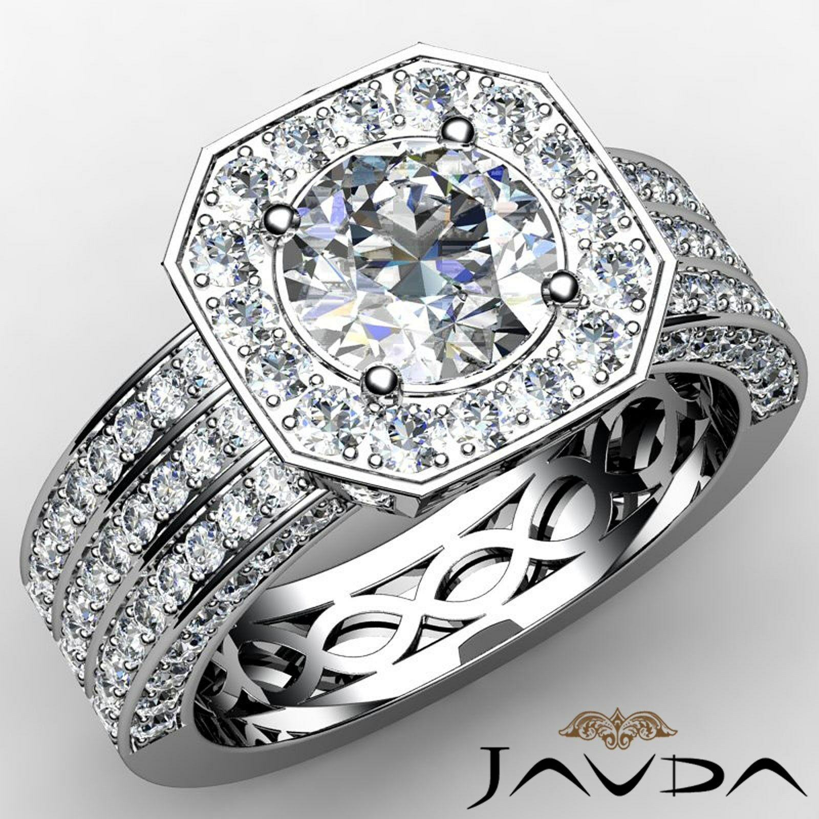 3 Row Shank Halo Pave Round Diamond Engagement Filigree Ring GIA I VS2 2.97 Ct