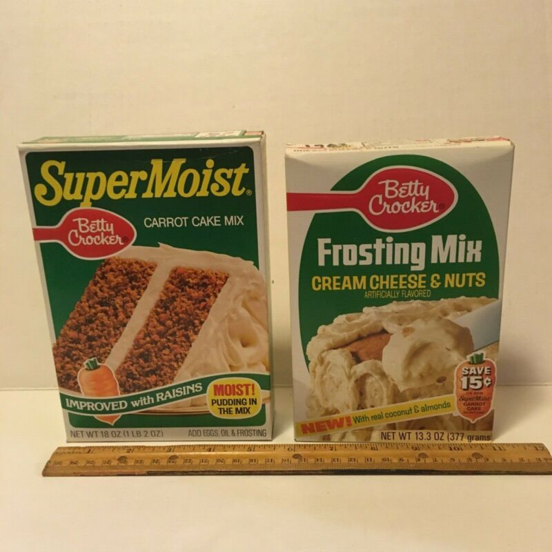 Vintage 80s Betty Crocker SuperMoist Carrot Cake and Cream Cheese Frosting mixes