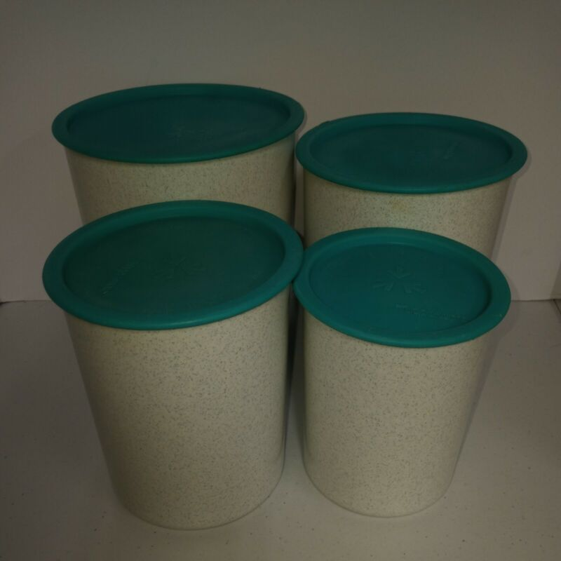 Tupperware Vintage Canister Set of 4 white with Teal Blue Turquoise Lids