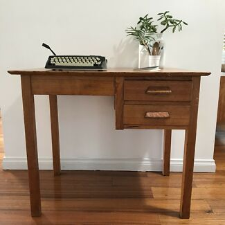 Desk VINTAGE small retro industrial home office drawers
