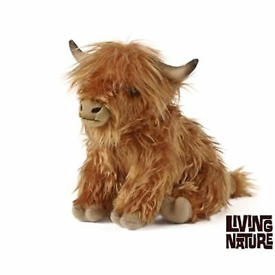 Living Nature Large Highland Cow Cuddly Toy Plush - Cuddly Cow