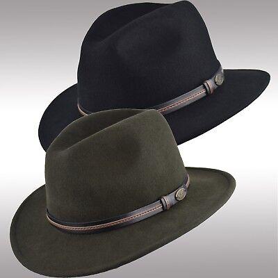 Premium Quality Men's Felt Wool Outback Fedora Indiana Jones Crushable Hat Fhe60