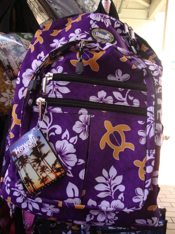 Purple Hawaii Spirit Hawaiian Print School Backpack Hiking Travel Beach H02