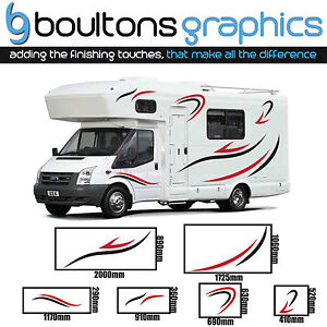 Camping car rayures 2 couleur campeur rv autocollant for Stickers exterieur pour camping car