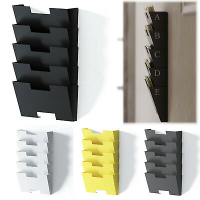 Wall File Holder Rack Storage Organizer 5 Sectional Folder Steel Pockets System