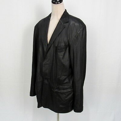 Remy Black 2 Button Front Soft Leather Jacket Coat Women Size 44 Pointed Collar ()