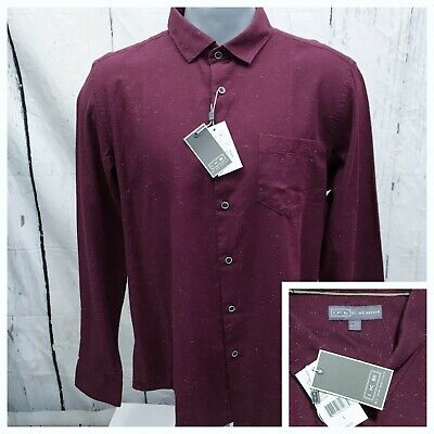 IKE BEHAR NWT L LARGE CASUAL SHIRT L/S FLANNEL CHILE GARNET MAROON SPECKLED NEW