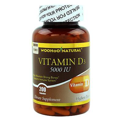 Maximum Strength Vitamin D (D-3) 5000 IU 200 Caps, High Potency, MADE IN USA