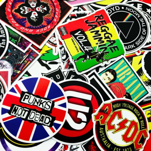 100 PCS Rock Band Logo Stickers Decal Lot Punk Vinyl Music Heavy Metal Laptop