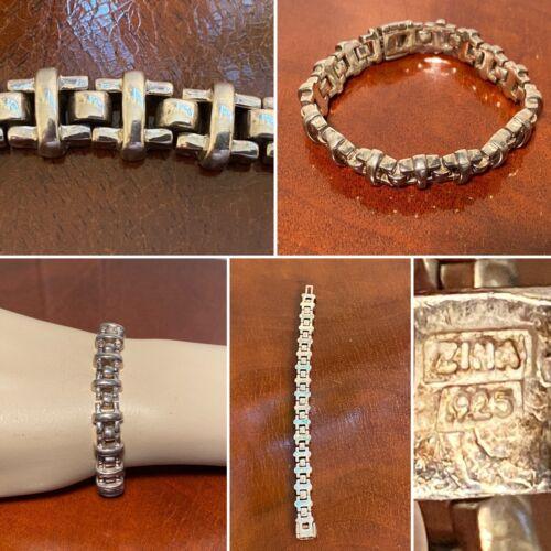 Vtg Signed ZINA Beverly Hills Heavy .925 Sterling Silver Link Bracelet 57 Grams