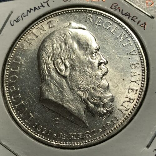 1911-D  GERMANY BAVARIA SILVER 5 MARKS RARE CROWN BRILLIANT UNCIRCULATED COIN