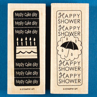 Up Up And Away Baby Shower (Happy Shower and Happy Cake Day Rubber Stamps by Stampin Up - Birthday -)