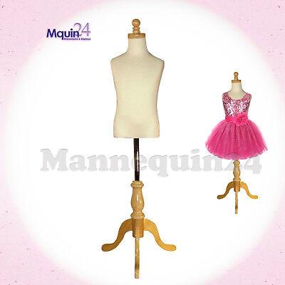 Kids Dress Body Form Mannequin 5-6 Years White Creamw Wooden Base